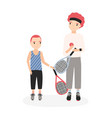 father and son holding tennis rackets and ball vector image