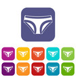 female underwear icons set flat vector image vector image