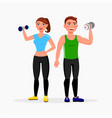 fitness couple isolated on white background man vector image vector image