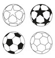 flat black and white soccer ball star set vector image vector image