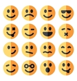 flat emotional emoji square faces icon vector image vector image