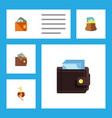 flat icon wallet set of currency wallet pouch vector image