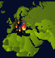 forest fires banner fire place on map disaster vector image