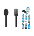Fork And Spoon Flat Icon With Bonus vector image vector image