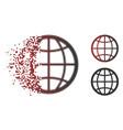 fragmented pixel halftone globe icon vector image vector image