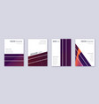 geometric brochure design template set violet abs vector image vector image