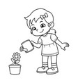girl watering her flower plant bw vector image