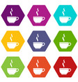 glass cup of tea icon set color hexahedron vector image vector image