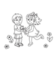 Hand drawn cute children with teddy bear vector image vector image