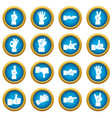 hand gesture icons blue circle set vector image vector image