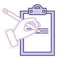 hand human with pencil writing in clipboard vector image vector image