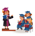 happy graduates on awards ceremony flat poster vector image