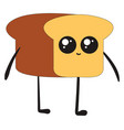 happy little bread on white background vector image vector image