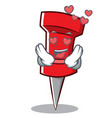 in love red pin character cartoon vector image