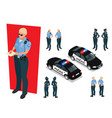 isometric police-officer in uniform and police car vector image vector image