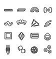 italian pasta food sign black thin line icon set vector image vector image