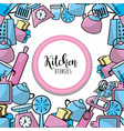 kitchen utensils culinary collection background vector image vector image