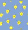 lightbulb lamp cute kawaii seamless pattern vector image