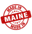 made in maine red grunge round stamp vector image vector image