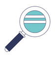 magnifying glass icon in blue color sections vector image vector image