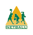 netball player catching jumping passing ball vector image vector image