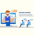 office worker in headset online customer support vector image vector image