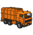 Orange dustcart vector image vector image