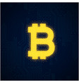 outline bitcoin sign textured with dark blue backg vector image vector image
