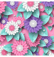 paper cut 3d flowers banner in pink white and vector image vector image