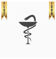 Pharmacy icon caduceus symbol bowl with a snake vector image