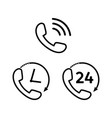 phone icon line set black phone symbols vector image vector image