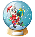 Santa Claus holding a gift inside the snow ball vector image vector image