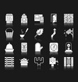 sauna equipment white silhouette icons set vector image vector image