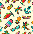 Seamless pattern with cartoon summer designs vector image vector image