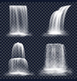 set isolated waterfall fall mountain river vector image vector image