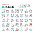 set line icons health and beauty vector image