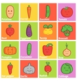 Set of funny character vegetables flat icons vector image vector image