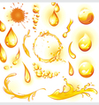 set of orange water drops and splashes vector image