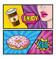 set plastic coffee cup with woman enjoy message vector image vector image