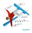snowboard halfpipe snowboarder performs a trick vector image