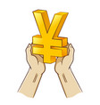 two hand holding dollar currency symbol vector image vector image