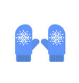 winter blue gloves icon flat style vector image vector image