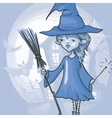 Witch Girl With Bat And Broom vector image vector image