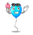 with ice cream blue balloon character on the rope vector image vector image