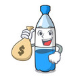 with money bag water bottle character cartoon vector image vector image
