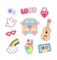 hippie style badges patches and stickers vector image