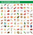 100 barbecue icons set cartoon style vector image