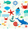 Underwater and sea animals seamless pattern vector image