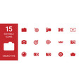 15 objective icons vector image vector image