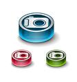 3d glossy camera web icon vector image vector image